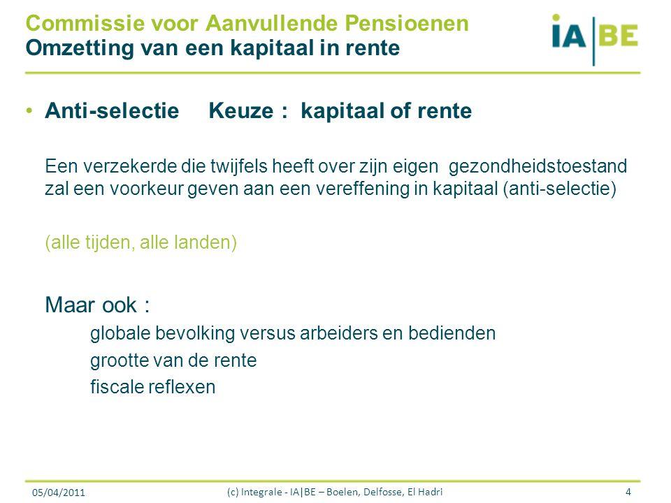 05/04/2011 (c) Integrale - IA|BE – Boelen, Delfosse, El Hadri4 Commissie voor Aanvullende Pensioenen Omzetting van een kapitaal in rente Anti-selectie Keuze : kapitaal of rente Een verzekerde die twijfels heeft over zijn eigen gezondheidstoestand zal een voorkeur geven aan een vereffening in kapitaal (anti-selectie) (alle tijden, alle landen) Maar ook : globale bevolking versus arbeiders en bedienden grootte van de rente fiscale reflexen
