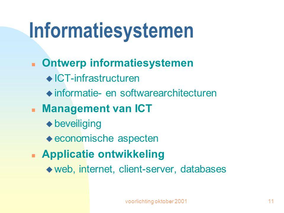 voorlichting oktober 200111 Informatiesystemen n Ontwerp informatiesystemen u ICT-infrastructuren u informatie- en softwarearchitecturen n Management van ICT u beveiliging u economische aspecten n Applicatie ontwikkeling u web, internet, client-server, databases
