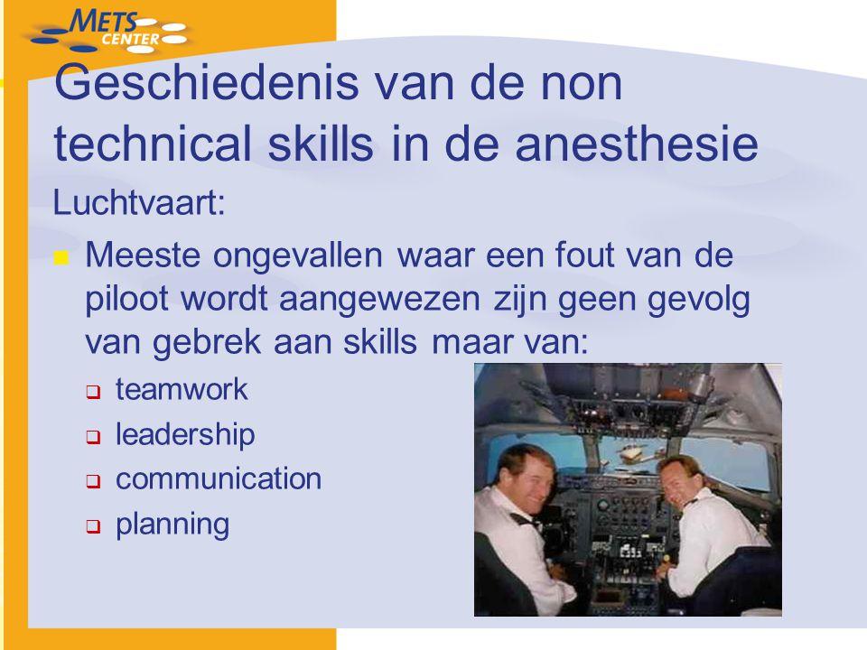 Geschiedenis van de non technical skills in de anesthesie Luchtvaart: Meeste ongevallen waar een fout van de piloot wordt aangewezen zijn geen gevolg