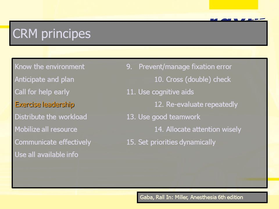 CRM principes Know the environment9. Prevent/manage fixation error Anticipate and plan10. Cross (double) check Call for help early11. Use cognitive ai