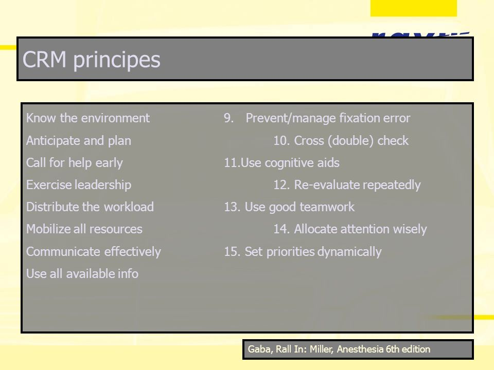 CRM principes Know the environment9. Prevent/manage fixation error Anticipate and plan10. Cross (double) check Call for help early11.Use cognitive aid