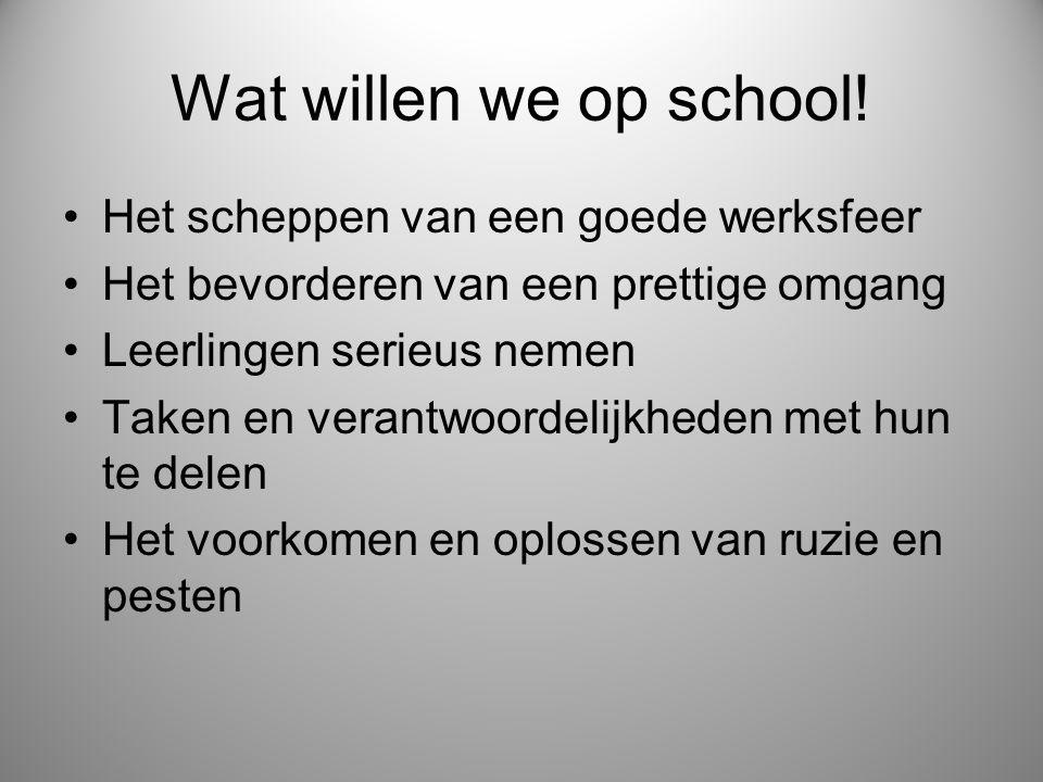 Wat willen we op school! Het scheppen van een goede werksfeer Het bevorderen van een prettige omgang Leerlingen serieus nemen Taken en verantwoordelij