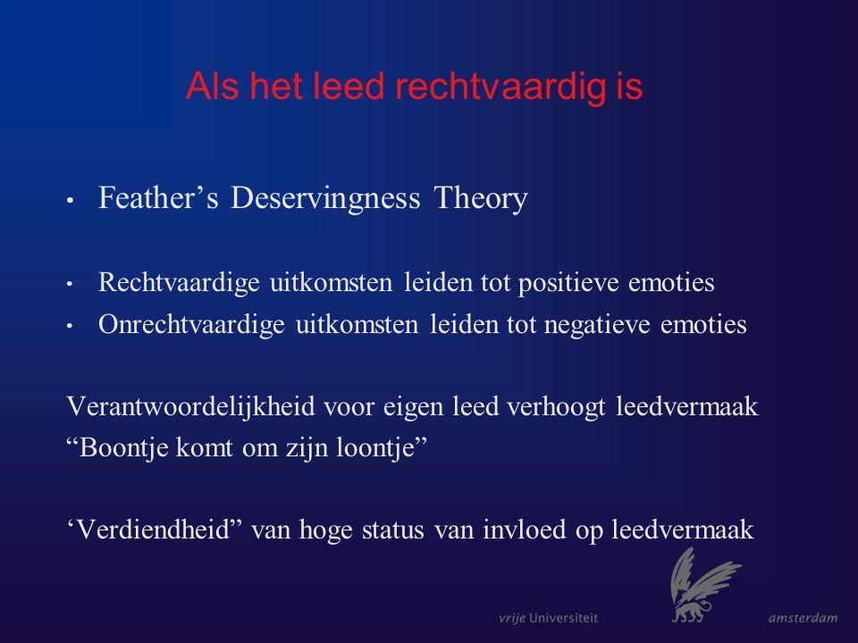Als het leed rechtvaardig is Feather's Deservingness Theory Rechtvaardige uitkomsten leiden tot positieve emoties Onrechtvaardige uitkomsten leiden tot negatieve emoties Verantwoordelijkheid voor eigen leed verhoogt leedvermaak Boontje komt om zijn loontje 'Verdiendheid van hoge status van invloed op leedvermaak