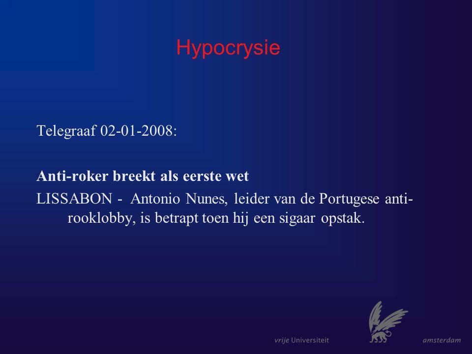 Hypocrysie Telegraaf 02-01-2008: Anti-roker breekt als eerste wet LISSABON - Antonio Nunes, leider van de Portugese anti- rooklobby, is betrapt toen hij een sigaar opstak.