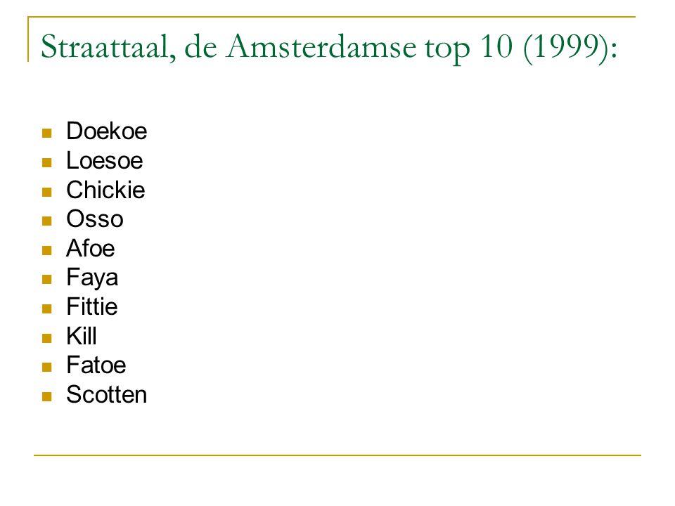 Straattaal, de Amsterdamse top 10 (1999): Doekoe Loesoe Chickie Osso Afoe Faya Fittie Kill Fatoe Scotten
