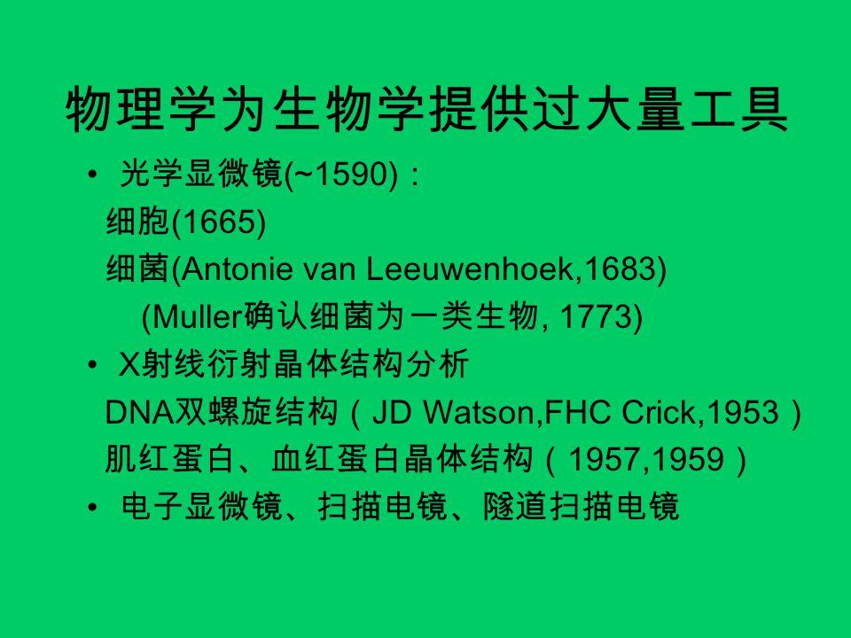物理学为生物学提供过大量工具 光学显微镜 (~1590) : 细胞 (1665) 细菌 (Antonie van Leeuwenhoek,1683) (Muller 确认细菌为一类生物, 1773) X 射线衍射晶体结构分析 DNA 双螺旋结构( JD Watson,FHC Crick,1953 ) 肌红蛋白、血红蛋白晶体结构( 1957,1959 ) 电子显微镜、扫描电镜、隧道扫描电镜