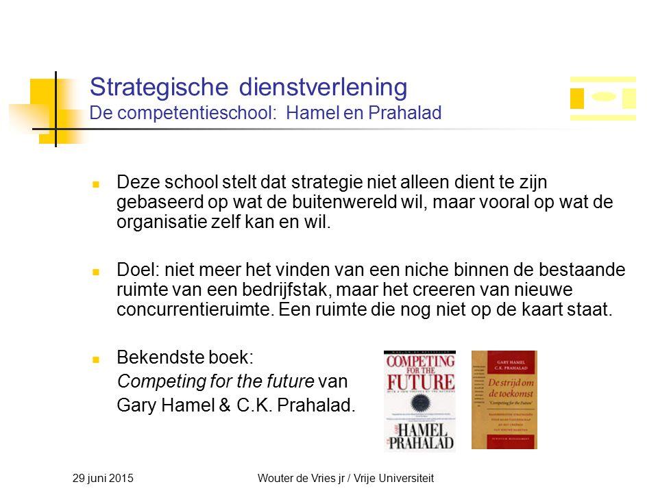 29 juni 2015Wouter de Vries jr / Vrije Universiteit Strategische dienstverlening De competentieschool: Hamel en Prahalad Deze school stelt dat strateg