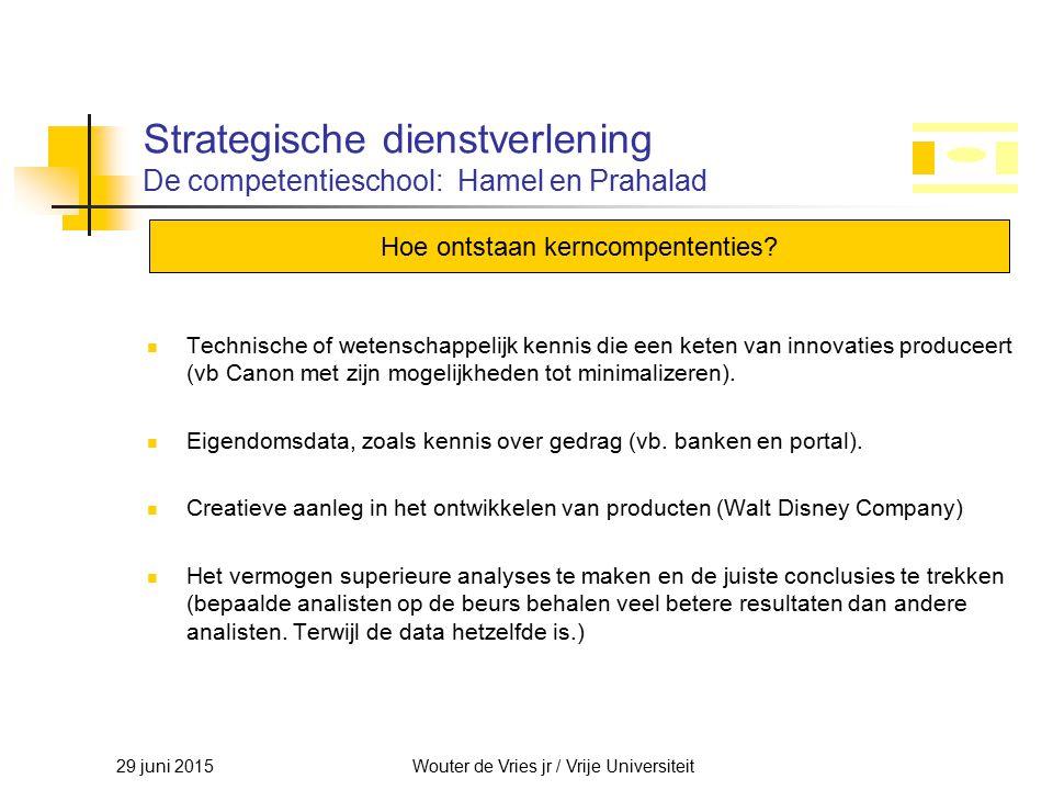 29 juni 2015Wouter de Vries jr / Vrije Universiteit Strategische dienstverlening De competentieschool: Hamel en Prahalad Technische of wetenschappelij