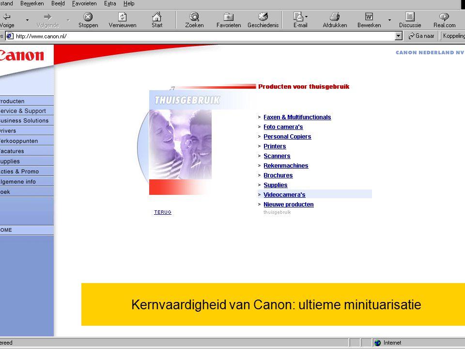 29 juni 2015Wouter de Vries jr / Vrije Universiteit 1. Kernvaardigheid van Canon: ultieme minituarisatie