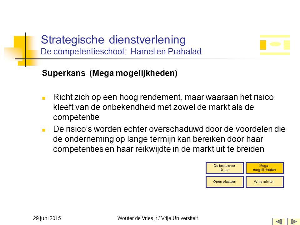 29 juni 2015Wouter de Vries jr / Vrije Universiteit Strategische dienstverlening De competentieschool: Hamel en Prahalad Superkans (Mega mogelijkheden