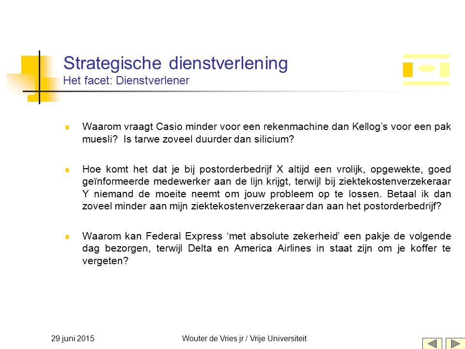 29 juni 2015Wouter de Vries jr / Vrije Universiteit Strategische dienstverlening Het facet: Dienstverlener Waarom vraagt Casio minder voor een rekenma