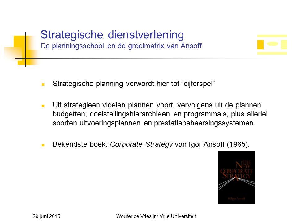29 juni 2015Wouter de Vries jr / Vrije Universiteit Strategische dienstverlening De planningsschool en de groeimatrix van Ansoff Strategische planning