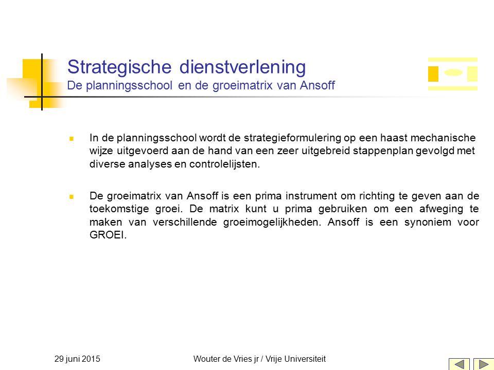 29 juni 2015Wouter de Vries jr / Vrije Universiteit In de planningsschool wordt de strategieformulering op een haast mechanische wijze uitgevoerd aan
