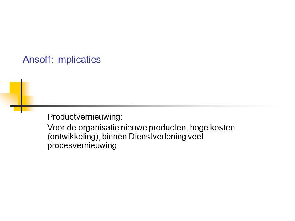 Ansoff: implicaties Productvernieuwing: Voor de organisatie nieuwe producten, hoge kosten (ontwikkeling), binnen Dienstverlening veel procesvernieuwin