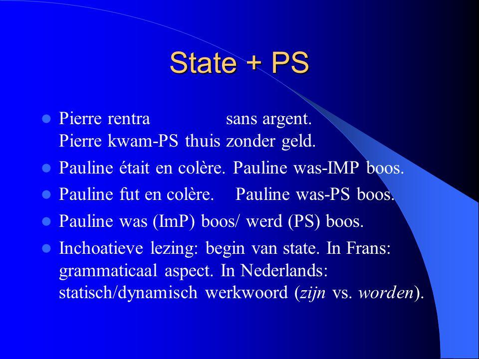 State + PS Pierre rentra sans argent.Pierre kwam-PS thuis zonder geld.