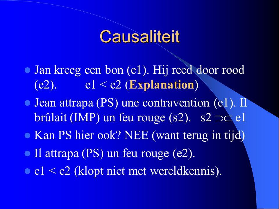 Causaliteit Jan kreeg een bon (e1).Hij reed door rood (e2).