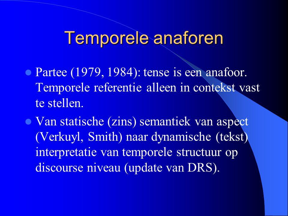 Temporele anaforen Partee (1979, 1984): tense is een anafoor.