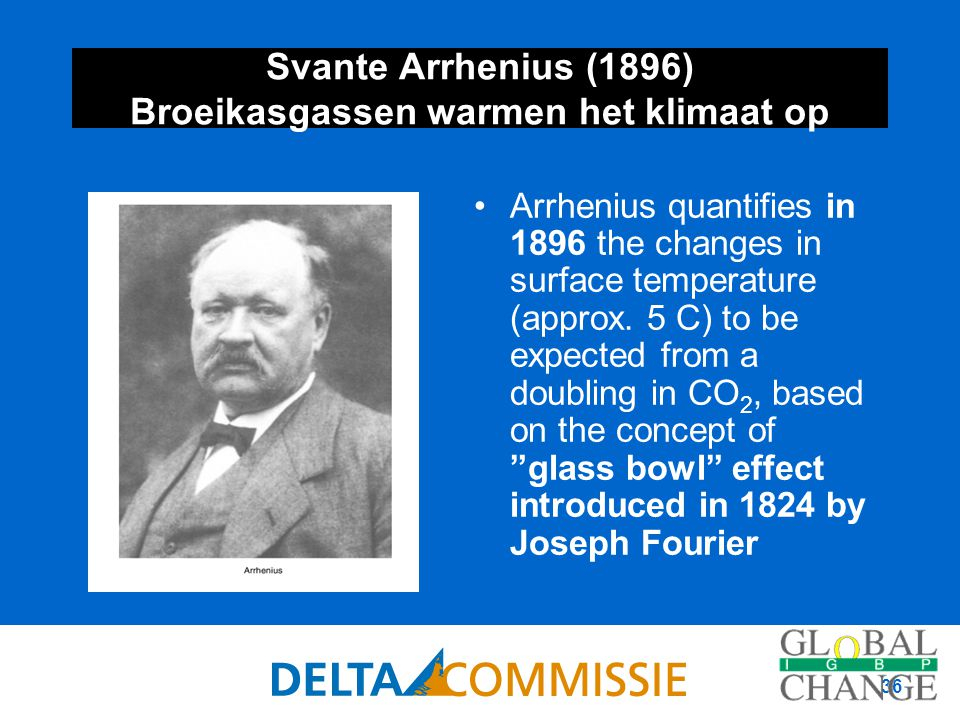 36 Svante Arrhenius (1896) Broeikasgassen warmen het klimaat op Arrhenius quantifies in 1896 the changes in surface temperature (approx. 5 C) to be ex