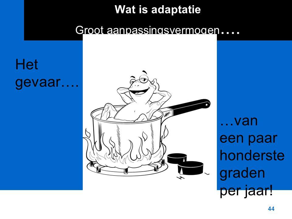 44 Wat is adaptatie Groot aanpassingsvermogen.... Het gevaar….