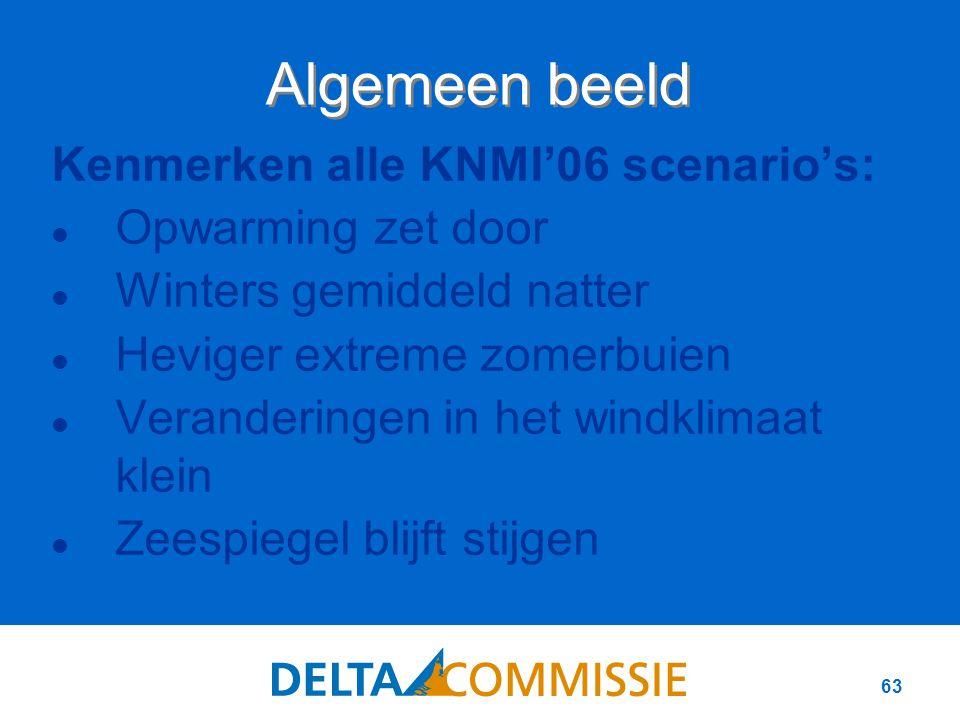 63 Kenmerken alle KNMI'06 scenario's: Opwarming zet door Winters gemiddeld natter Heviger extreme zomerbuien Veranderingen in het windklimaat klein Zeespiegel blijft stijgen Algemeen beeld