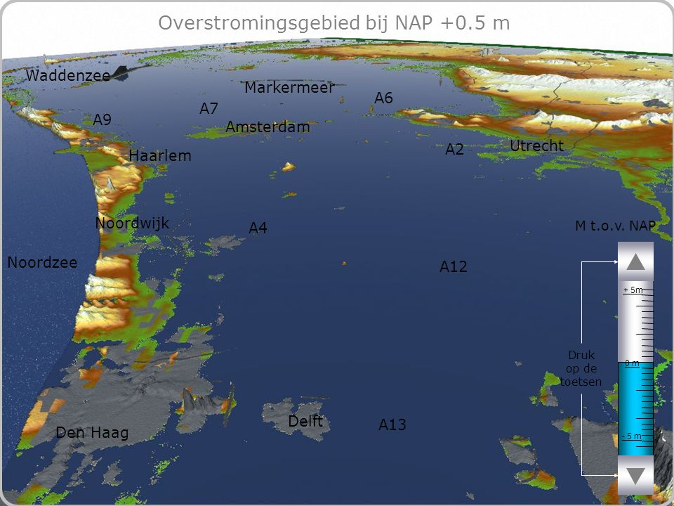 71 Overstromingsgebied bij NAP +0.5 m - 5 m 0 m + 5m M t.o.v.