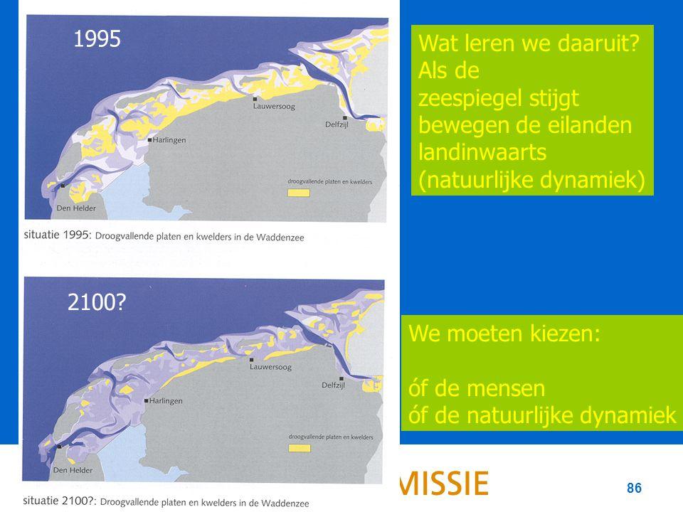 86 We moeten kiezen: óf de mensen óf de natuurlijke dynamiek 1995 2100.