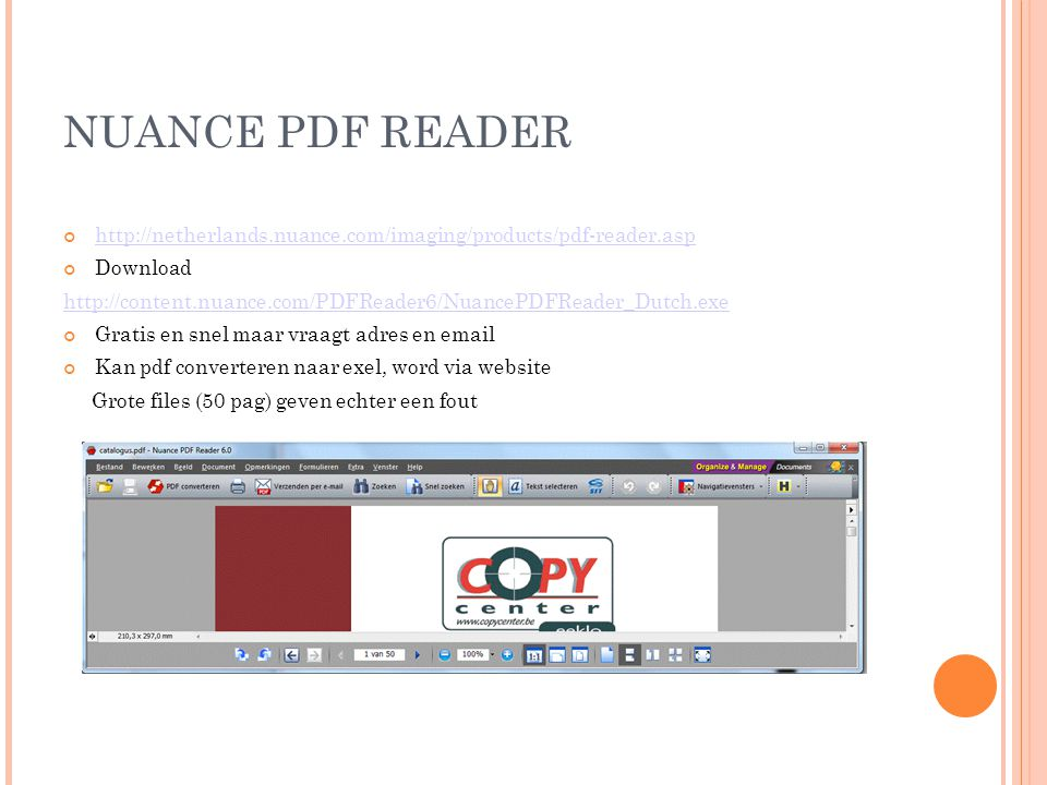 NUANCE PDF READER http://netherlands.nuance.com/imaging/products/pdf-reader.asp Download http://content.nuance.com/PDFReader6/NuancePDFReader_Dutch.exe Gratis en snel maar vraagt adres en email Kan pdf converteren naar exel, word via website Grote files (50 pag) geven echter een fout