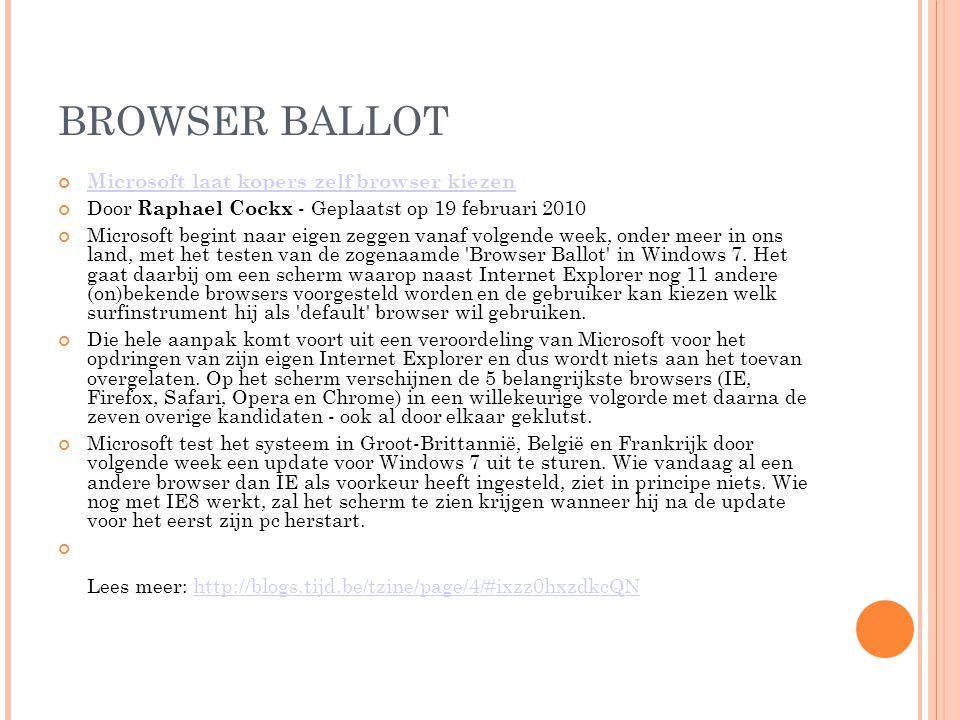 BROWSER BALLOT Microsoft laat kopers zelf browser kiezen Door Raphael Cockx - Geplaatst op 19 februari 2010 Microsoft begint naar eigen zeggen vanaf volgende week, onder meer in ons land, met het testen van de zogenaamde Browser Ballot in Windows 7.