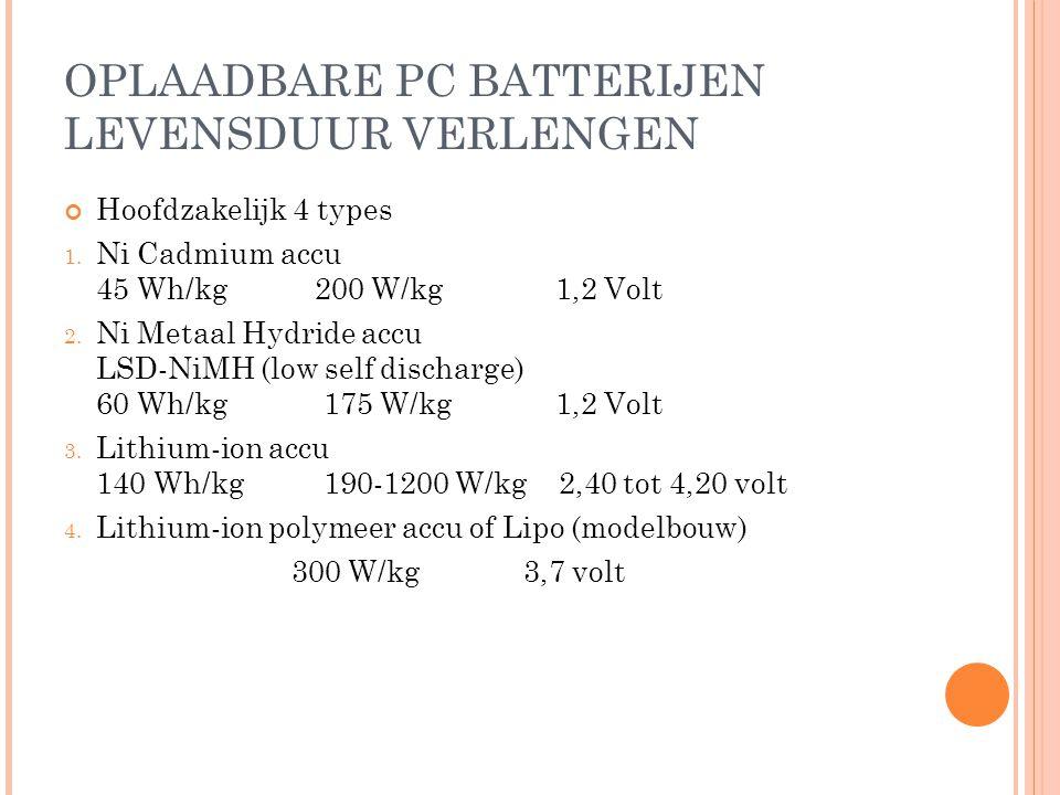 OPLAADBARE PC BATTERIJEN LEVENSDUUR VERLENGEN Hoofdzakelijk 4 types 1.
