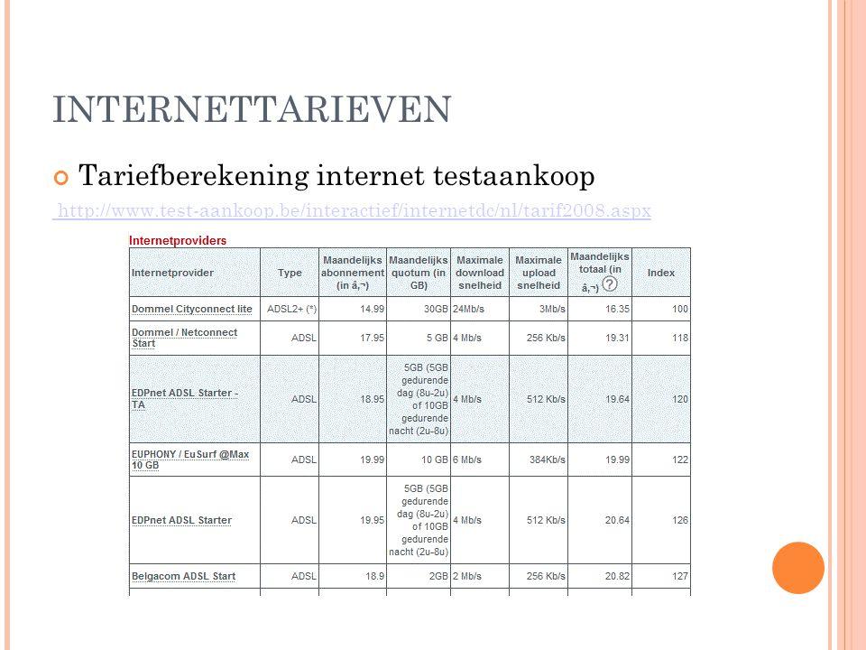 INTERNETTARIEVEN Tariefberekening internet testaankoop http://www.test-aankoop.be/interactief/internetdc/nl/tarif2008.aspx
