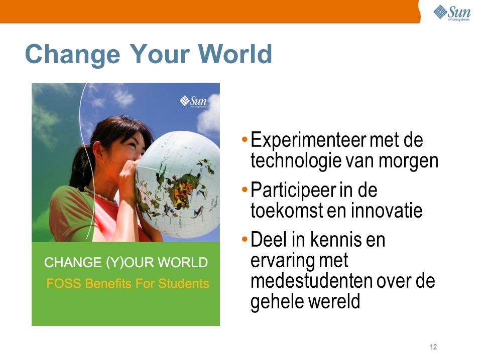 12 Change Your World Experimenteer met de technologie van morgen Participeer in de toekomst en innovatie Deel in kennis en ervaring met medestudenten over de gehele wereld