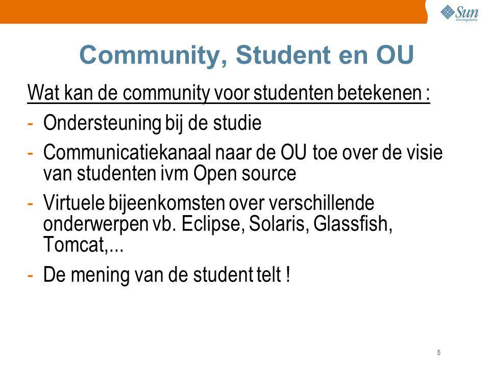 5 Community, Student en OU Wat kan de community voor studenten betekenen : -Ondersteuning bij de studie -Communicatiekanaal naar de OU toe over de visie van studenten ivm Open source -Virtuele bijeenkomsten over verschillende onderwerpen vb.