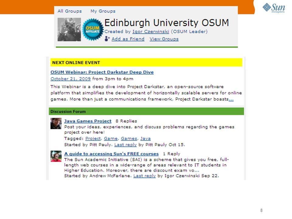 9 Sun Academic Initiative Ondersteuning voor Java