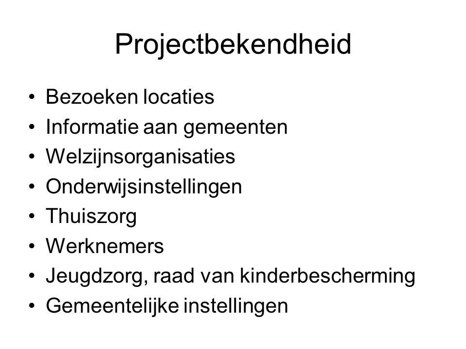 Projectbekendheid Bezoeken locaties Informatie aan gemeenten Welzijnsorganisaties Onderwijsinstellingen Thuiszorg Werknemers Jeugdzorg, raad van kinderbescherming Gemeentelijke instellingen