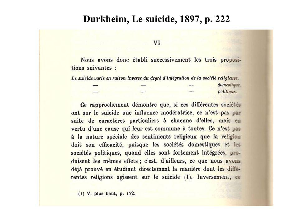 Durkheim, Le suicide, 1897, p. 222