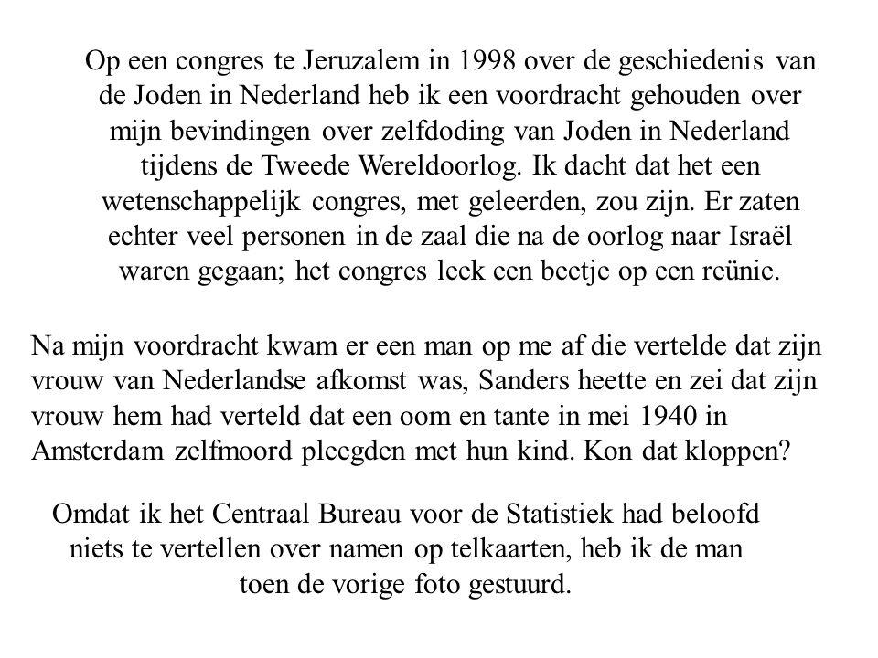 Op een congres te Jeruzalem in 1998 over de geschiedenis van de Joden in Nederland heb ik een voordracht gehouden over mijn bevindingen over zelfdoding van Joden in Nederland tijdens de Tweede Wereldoorlog.