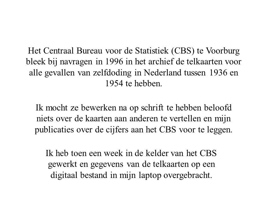 Het Centraal Bureau voor de Statistiek (CBS) te Voorburg bleek bij navragen in 1996 in het archief de telkaarten voor alle gevallen van zelfdoding in Nederland tussen 1936 en 1954 te hebben.
