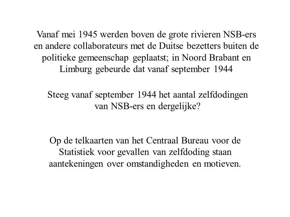 Vanaf mei 1945 werden boven de grote rivieren NSB-ers en andere collaborateurs met de Duitse bezetters buiten de politieke gemeenschap geplaatst; in Noord Brabant en Limburg gebeurde dat vanaf september 1944 Steeg vanaf september 1944 het aantal zelfdodingen van NSB-ers en dergelijke.