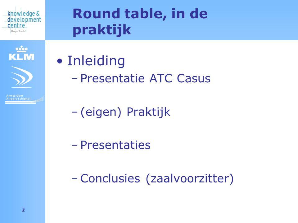 Amsterdam Airport Schiphol 2 Round table, in de praktijk Inleiding –Presentatie ATC Casus –(eigen) Praktijk –Presentaties –Conclusies (zaalvoorzitter)