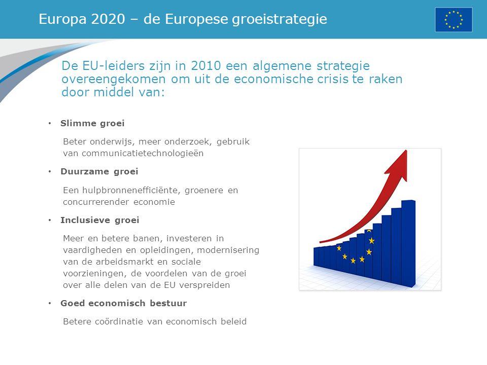 Europa 2020 – de Europese groeistrategie De EU-leiders zijn in 2010 een algemene strategie overeengekomen om uit de economische crisis te raken door m