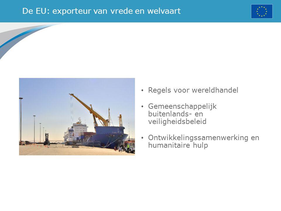 De EU: exporteur van vrede en welvaart Regels voor wereldhandel Gemeenschappelijk buitenlands- en veiligheidsbeleid Ontwikkelingssamenwerking en human