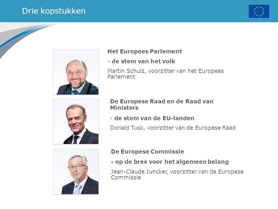 Drie kopstukken Het Europees Parlement - de stem van het volk Martin Schulz, voorzitter van het Europees Parlement De Europese Raad en de Raad van Min