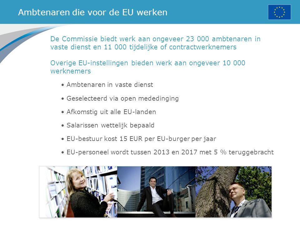 Ambtenaren die voor de EU werken De Commissie biedt werk aan ongeveer 23 000 ambtenaren in vaste dienst en 11 000 tijdelijke of contractwerknemers Ove