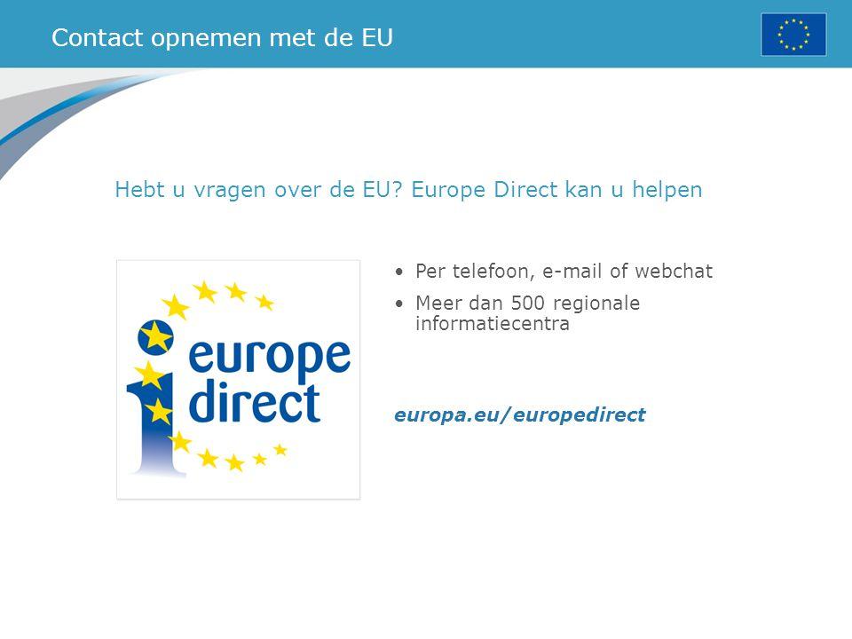 Contact opnemen met de EU Hebt u vragen over de EU? Europe Direct kan u helpen Per telefoon, e-mail of webchat Meer dan 500 regionale informatiecentra