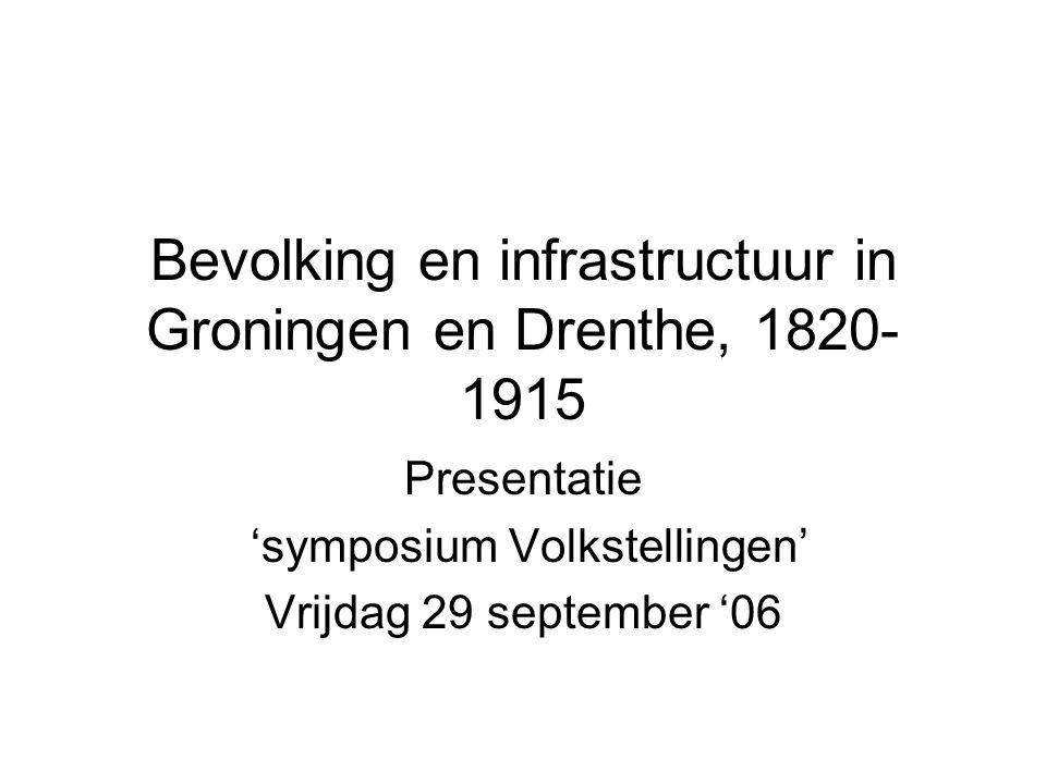 Bevolking en infrastructuur in Groningen en Drenthe, 1820- 1915 Presentatie 'symposium Volkstellingen' Vrijdag 29 september '06
