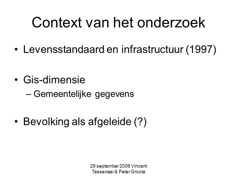 29 september 2006 Vincent Tassenaar & Peter Groote Voorlopige conclusies Relatie Bevolking is sturend Infrastructuur is volgend Effect m.n.
