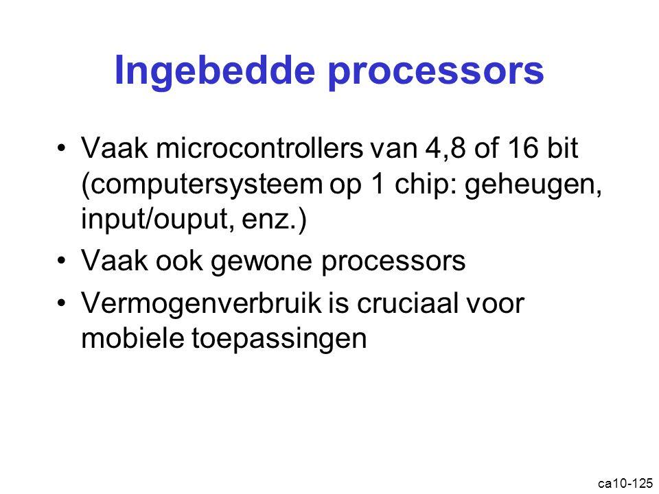 ca10-125 Ingebedde processors Vaak microcontrollers van 4,8 of 16 bit (computersysteem op 1 chip: geheugen, input/ouput, enz.) Vaak ook gewone processors Vermogenverbruik is cruciaal voor mobiele toepassingen