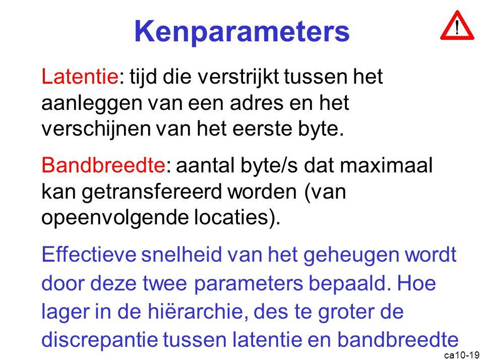 ca10-19 Kenparameters Latentie : tijd die verstrijkt tussen het aanleggen van een adres en het verschijnen van het eerste byte. Bandbreedte: aantal by