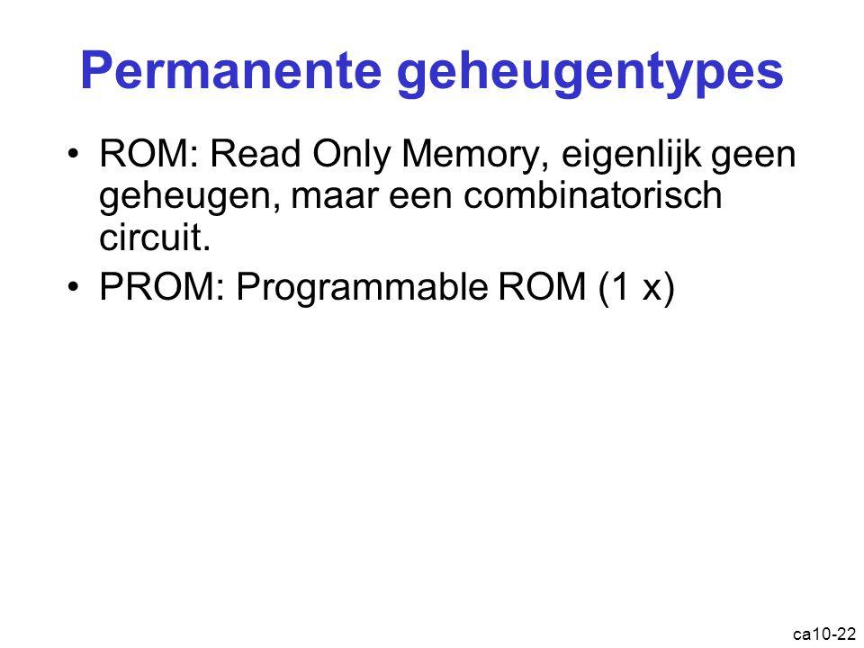 ca10-22 Permanente geheugentypes ROM : Read Only Memory, eigenlijk geen geheugen, maar een combinatorisch circuit. PROM : Programmable ROM (1 x)