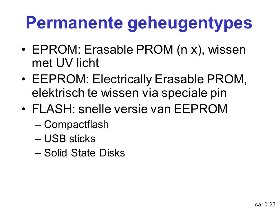 ca10-23 Permanente geheugentypes EPROM : Erasable PROM (n x), wissen met UV licht EEPROM : Electrically Erasable PROM, elektrisch te wissen via speciale pin FLASH : snelle versie van EEPROM –Compactflash –USB sticks –Solid State Disks